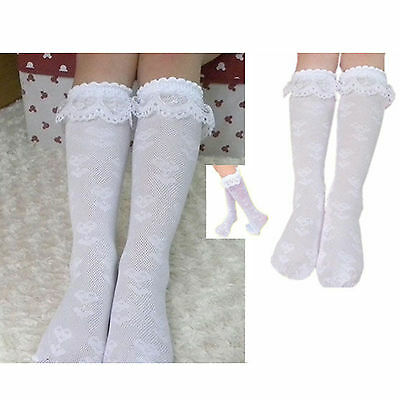 Best White Girls Trim Frilly Ankle Soft Knee High Socks with White Ruffle Lace