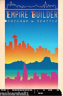 Empire Builder Chicago to Seattle Train Railroad Travel Advertisement Poster