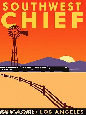 Southwest Chief Chicago Los Angeles Train Railroad Travel Advertisement Poster
