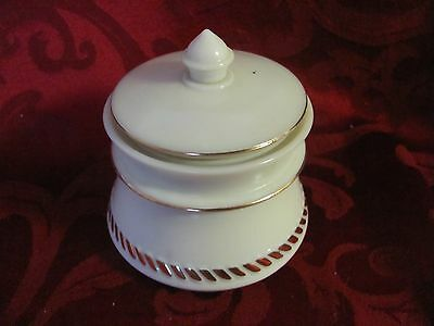 Vintage ivory glass powder jar with lid gold accents