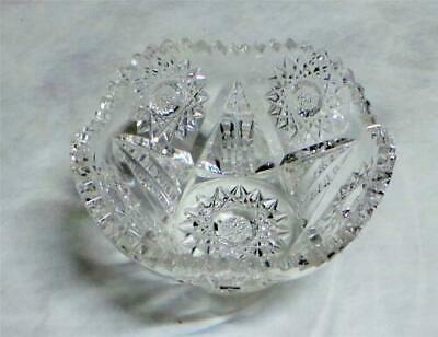 Antique ABP Elegant Cut Glass Berry Bowl Nut Dish Hobstar Star Pattern