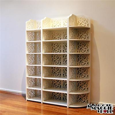 New White Hollow Carved Kitchen Bathroom Storage shoes Rack book shelves 120
