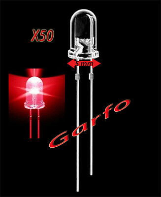 50X Diodo LED 5x9 mm Rojo 2 Pin alta luminosidad