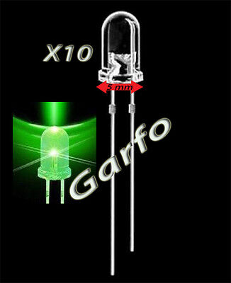 10X Diodo LED 5x9 mm Verde 2 Pin alta luminosidad