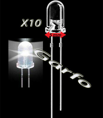 10X Diodo LED 5x9 mm Blanco 2 Pin alta luminosidad