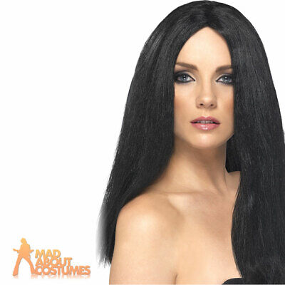 Ladies Star Style Long Black Wig Ladies Halloween Witch Fancy Dress Costume
