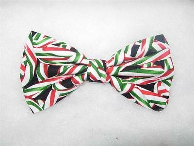 (1) PRE-TIED BOW TIE-PEPPERMINT TWIST-RED & GREEN CHRISTMAS CANDY CANES ON BLACK