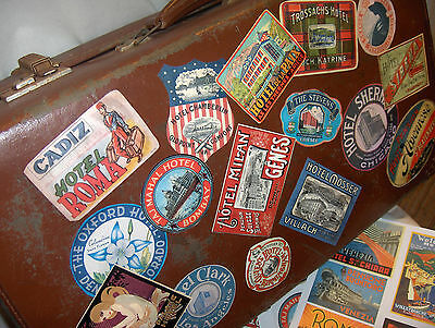 26 Reproduction vintage style LUGGAGE LABELS - DIY decorate an old suitcase etc