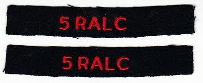 5 RALC - PAIR of WW2 Vintage BRITISH ARMY ARTILLERY SHOULDER TAB PATCH TITLES