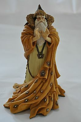 """RARE 1989 Collectible Enchantica Hand Painted Wizard Statue 8"""" Tall Signed 1992"""