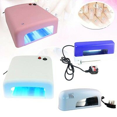 9W 36W White/Pink/Blue UV Lamp Light Gel Curing Nail Dryer Timer Manicure +Gifts