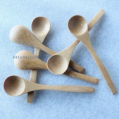 Set of 10 Natural Bamboo Mini Spoon for Ice Cream Sugar Tea Coffee Dessert Cater