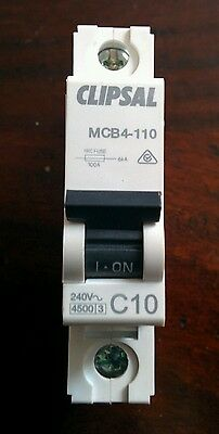 Clipsal MCB4-110 10A Miniature Circuit Breaker MCB 4.5kA Single Pole SwitchBoard