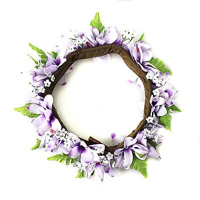 Hawaiian Lei Party Luau Haku headband Floral Plumeria Purple cotton Inlay