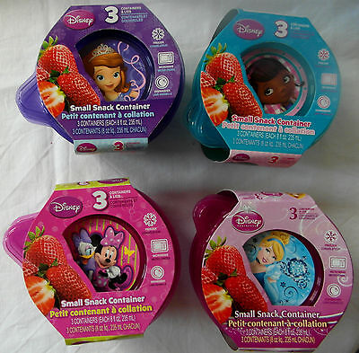 Disney Sofia the First DOC McStuffins Princess Minnie- 3pk SMALL SNACK CONTAINER