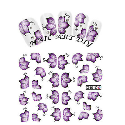 Nail Art Water Transfers Stickers Decals-Adesivi Fiori Viola Unghie Decalcomania