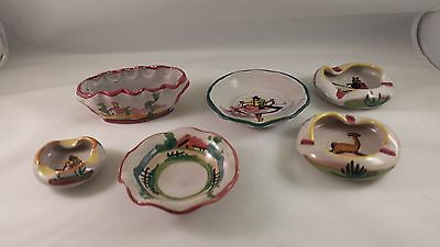 6 PCS HAND PAINTED FCA PERU ART POTTERY Bowls Ashtrays WOMAN FARMER LLAMA HOUSES