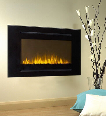 """40"""" Black Electric Fireplace Forte 28""""H Tallest Flame Recessed Inset or Mounted"""