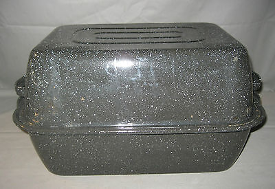 Vintage Black & White Enamelware Speckled Square Roasting Pan Roaster