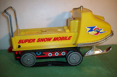 Vintage Durham Industries Wind-up Super Snow Mobile Early Tin Chassis, as-is!