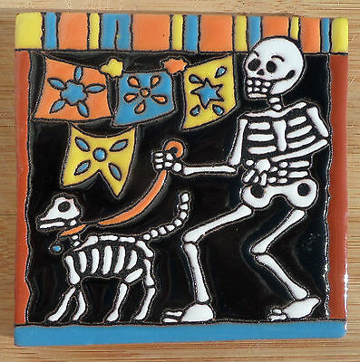 "1~MEXICAN Hi Relief TALAVERA TILE POTTERY 4"" Day of the Dead Man skeleton dog"