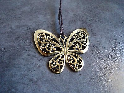 New Beautiful Gold Tone Butterfly Pendant Charm Necklace in Brown Cord