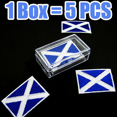 Scotland Flag Embroidered Patch Scottish Iron On National Emblem (1 Box = 5 Pcs)