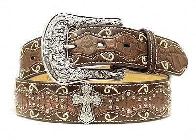 Ariat Western Womens Belt Inlay Scallop Cross Conchos Brown A1514002