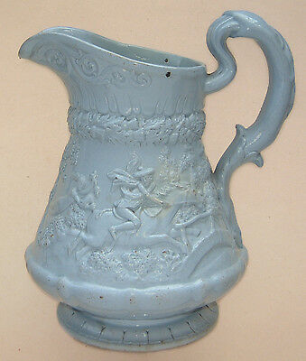 "William Ridgway: 'Tam O' Shanter' Blue Stoneware Moulded Jug : 1835 7"" Tall"