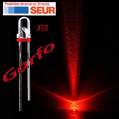 10X Diodo LED 3 mm Rojo 2 Pin alta luminosidad