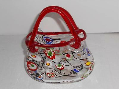 Hand Blown Art Glass Vase Hand Painted Red Purse Two Handles Multicolor Florals