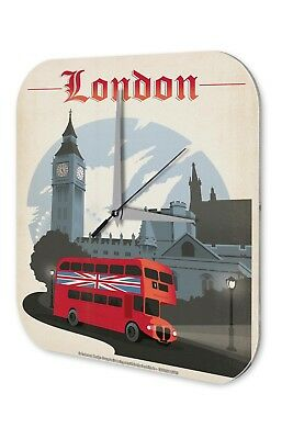 Wall Clock City  London Double-Decker Bus Big Ben Printed Acryl Acrylglas Retro