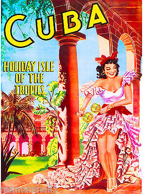 Cuba Cuban Havana Island Girl Holiday Vintage Travel Art Advertisement Poster