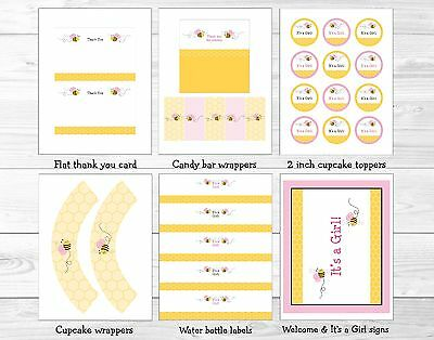 Pink Bumble Bee Printable Baby Shower Party Package