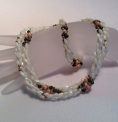 "Torsade Jewelry Set 7.75"" Bracelet 30"" Necklace White Rice Beads Pink Green"
