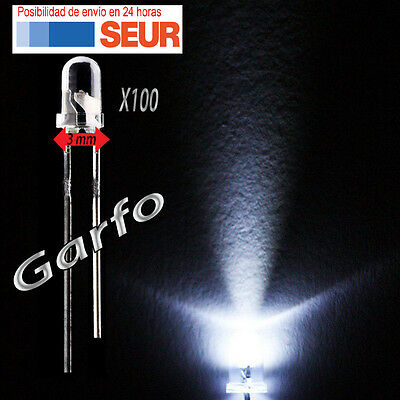 100X Diodo LED 3 mm Blanco 2 Pin alta luminosidad