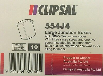 10 x GENUINE Clipsal 554J4 Large Junction Box 40A 500V White Electrical