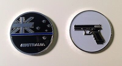 Police Coin, Law Enforcement, Thin Blue Line, TBL, Firearm, 1 X Coin