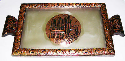 Large glass, wood & metal (Copper coloured) serving tray with Paris inlay.