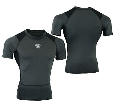 Mens Compression Armour Base Layer Top Half Sleeve Thermal Gym Sports Shirt MS