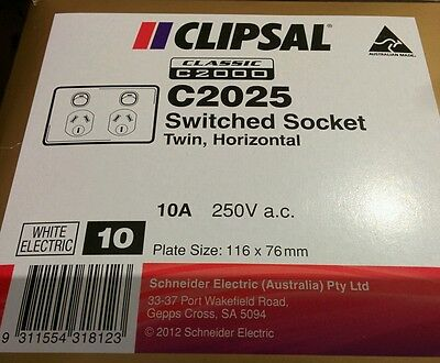 10 x Clipsal C2025 Double Power Point 10A GPO, Twin Switched Sockets Classic