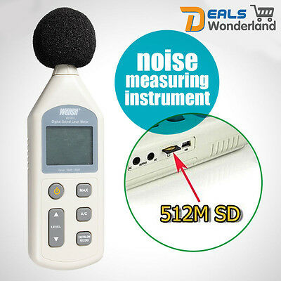 Digital Sound Noise Pressure Tester Level Meter 30-130dB Decibel USB w/ 512M SD
