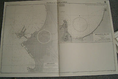 Vintage Admiralty Chart 3076 CHILE - PLANS ON THE COAST OF CHILE 1964 edition