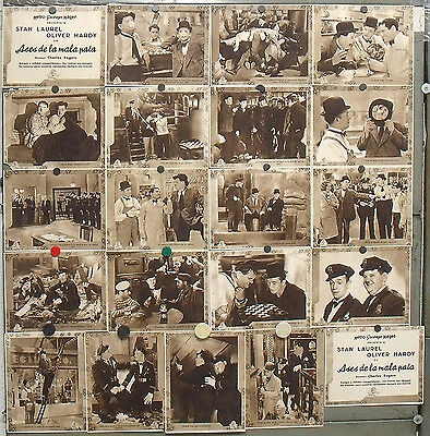 BE43d THE FIXER UPPERS STAN LAUREL OLIVER HARDY ORIGINAL SPANISH LOBBY SET 21 LC