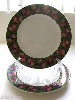 """PAIR OF SALAD PLATES BY ONEIDA TABLE TRENDS IN THE """"ILLUSION"""" PATTERN"""