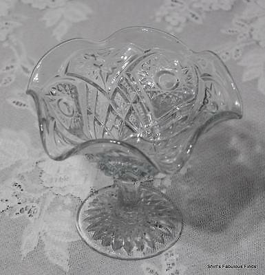 """Light Blue Tinted Pressed Glass Ruffled Edge Sun Flower Compote Candy Dish 4.75"""""""