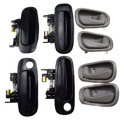 8Pcs Front Rear Black Outside Grey Inside Door Handle 98-02 for Toyota Corolla