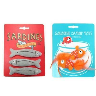 Pet Brands Catnip Filled Cat Kitten Fun Play Toy Goldfish Duo Sardine Trio