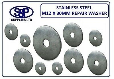 12MM x 30MM STAINLESS STEEL REPAIR WASHER PENNY WASHERS WITH 12mm HOLE / BORE