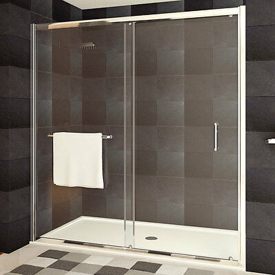 LessCare Clear Glass Shower Door ULTRA-A 56-60 Wide x 72 High Chrome Finish